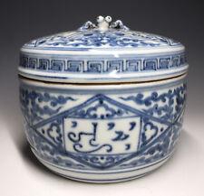 Antique Zhengde Ming Blue & White Chinese Porcelain Spider Box w/ Sanskrit