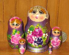 Nesting Russian Doll Matryoshka Babushka 5 small Pearl Lilac & purple flowers