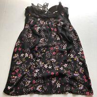 LC Lauren Conrad Black Floral Sleeveless Top Womens Sz M A855