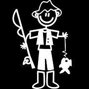 My Family Car Window Stick Figure Decal Sticker - Fishing Man - Daddy Fishing