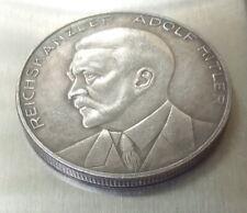 German Reichs Kanzler 1933 Silvered Bronze Medal Pre-War Germany Exonumia Token