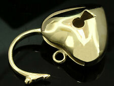 LARGE 9ct/9K SOLID Gold Key-hole HEART Padlock CLASP