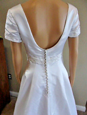 White Empire Waist Short Sleeve Satin Bridal Gown Wedding Dress Size 8 @ cLOSeT