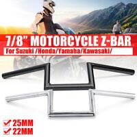 7/8'' 22mm Motorcycle Handle Z Drag Bar Handlebar For Suzuki Chrome Black !