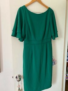 Phase Eight Dress Daley Drape Dress Am Bright Green 14 RRP $325 New