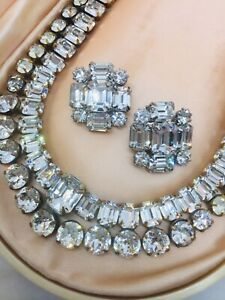 Vintage Weiss Signed Rhinestone Necklace & Earrings Parure Set