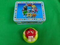 M&M'S ADVERTISING MINI LUNCH BOX METAL TIN PLUS CANDY DISPENSER CONTAINER