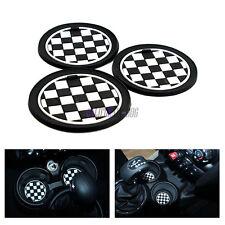 3Pcs Checkered Black CAR Cup Mat Cup Coaster For Mini Cooper JCW R55 R56 R57 R58