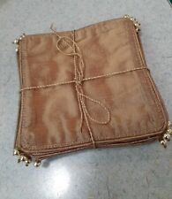 New listing 8 handmade fabric metallic gold with bead beverage coasters New