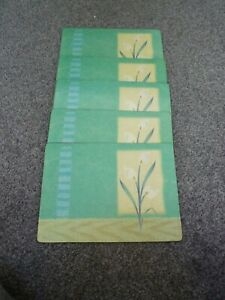 set of 5 cork dining table placemats green/blue with lily flower design