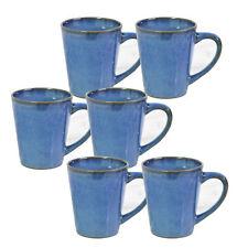 6pcs 250ml Stoneware Reactive Glazed Blue Gloss Mug Coffee Cup Mottled Speckled