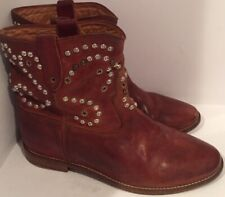 Isabel Marant 41/11 Distressed Cognac Brown Embellished Caleen Boots Wedge #1891