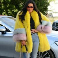 Women 100% Real Vulpes Fox Fur Coat Jacket Loose Overcoat Winter Warm Outerwear