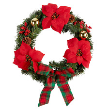Northeast Home Goods Christmas Holiday Plaid Bow Poinsettia Wreath, 22-Inch