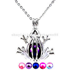 Z105 Silver 30mm Animal Frog Alloy Stainless Necklace Locket Beads Cage