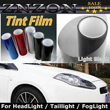 """Light Black 12""""X48"""" Headlight Fog Light Taillight Tint Vinyl Film Sheet Sticker"""