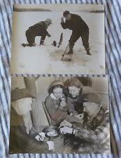 2 Vintage Ice Fishing PRESS Photos Woodruff