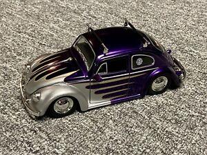 Jada Dub City 1959 Volkswagon Beetle 1:24 Diecast Model Purple W/Flames 2005