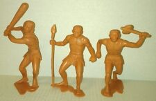 3 vtg original MARX 1963 6 INCH CAVEMEN w/ club spear stone axe NOT REPROS