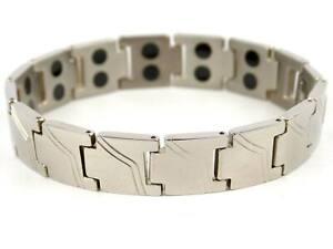 Hommes SISTO-X Chrome Finition Titane Magnétique Bracelet Santé 28 Aimants