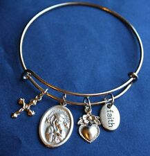Our Lady of Perpetual Help St Gerard Charm Bracelet Expandable Wire
