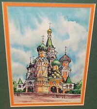 RUSSIAN TURRETS CASTLE ORIGINAL WATERCOLOR PAINTING UNSIGNED