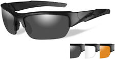 WX VALOR Matte Black Sunglasses with Smoke Grey/Clear/Light Rust Lens Set,