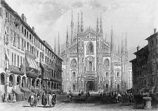 ITALY - CATHEDRAL of MILAN view of PIAZZA del DUOMO -Engraving from 19th century