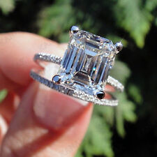 12 Ct Emerald Cut Diamond Bridal Set Engagement Ring 14K White Gold Over