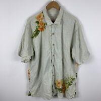 Tommy Bahama Silk Hawaiian Shirt Mens XL Floral Short Sleeve Button Up Collared