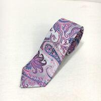 "Express Mens Skinny Purple Blue Paisley 100% Silk Neck Tie 2.5"" NWT"