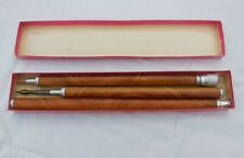 More details for antique walking stick wood cane with stanhope lens hidden pencil pen & ink well