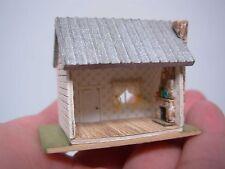 "ARTISAN UNSIGNED DOLLHOUSE MINIATURE TINY HOUSE w STONE FIREPLACE INTERIOR 1.25"""