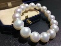 Charming  Aaa 12-13mm South Sea Round White Pearl Bracelet 7.5-8 Inch