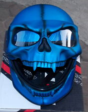 Skull Helmet Monster Death Visor Motorcycle Helmet Ghost Rider Metallic Blue