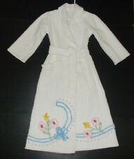 Charming Vintage Childs White Chenille Bathrobe Size 4