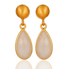 Rose Chalcedony 18K Gold Plated Silver Dangle Earrings Gemstone Jewelry