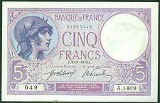 FRANCE 5 FRANCS VIOLET du 30/3/1918 ETAT: SUP+  # A 1409