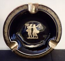 NEOFITOU Ceramic 24ct Gold Ashtray Greek Hand Made Grecian Ancient Greece Scene