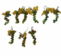 Acrylic Plastic Faceted Green Amber Brown Grape Cluster Ornaments Wire Lot of 9