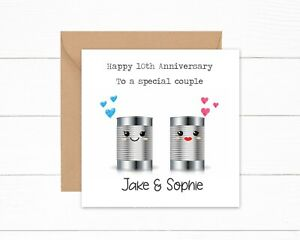 Personalised Funny 10th Anniversary Card 10 years Tin Joke Card Special Couple