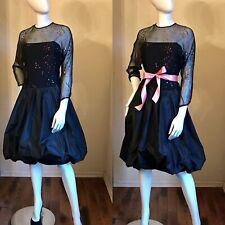 Vintage 1980's Tracy Mills Saks Black Confetti Sequin Cocktail Party Dress 8