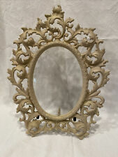 Antique Wilton Cast Iron Ornate Picture Frame Mirror Easel Back Ivory