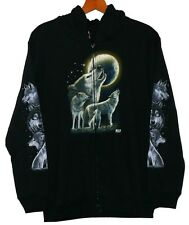 Sweat chaqueta Hoodie Wolf lobos luna, talla 2xl, Biker Western vaquero indios Lobo
