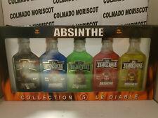 MINI PACK ABSINTHE LE DIABLE 5 u x 4 cl cristal miniatura mignonette mini bottle