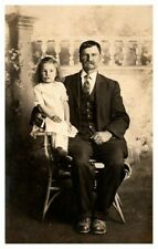 REAL PHOTO Formal Portrait of Gentleman and Young Girl w/Buttoned Shoes RPPC