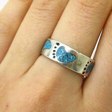 Vtg 925 Sterling Silver Turquoise Inlay Footprint Design Band Ring Size 8 3/4