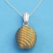 Tiger Eye Necklace Golden Brown 925 Sterling Silver Brand New ss