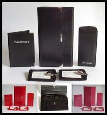 Black Pink Red Leather Travel Wallet Set Documents Folder Passport Tags Case