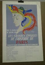AFFICHE ANCIENNEEXPOSITION GRANDES EPOQUES HISTOIRE DE PARIS